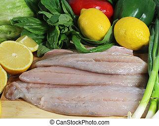 fish, barramundi, filety, cytryny