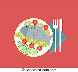 fish, biała płyta, tło., wektor, ilustracja
