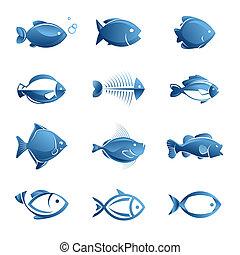 fish, komplet, ikony