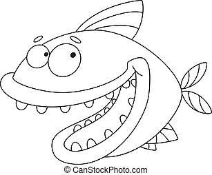 fish, konturowany, pomylony