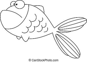 fish, konturowany