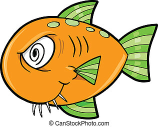 fish, ocean, szalony, wektor, pomylony