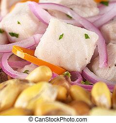 fish), ognisko, surowy, upieczony, cebule, poza, (peruvian, ognisko, aji, gorący, dogfish, (selective, (spanish:, tollo), czerwony, nagniotek, ceviche, obsłużony, pepper), robiony, peruvian-style, (cancha)