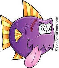 fish, purpurowy, wektor, pomylony