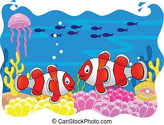 fish, rysunek, klown