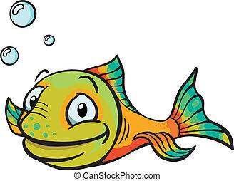fish, rysunek, szczęśliwy