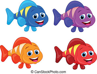 fish, sprytny, komplet, zbiór, rysunek