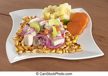 fish, surowy, upieczony, poza, (peruvian, mahi-mahi, swe, aji, gorący, (spanish:, czerwony, nagniotek, ceviche, obsłużony, perico), pepper), robiony, cebule, peruvian-style, lipy, dobrze, gotów, łabędź, (cancha)