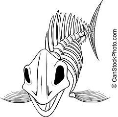 fish, sylwetka, szkielet