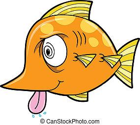 fish, szalony, wektor, pomylony
