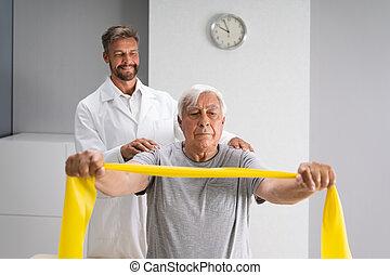 fizjoterapia, bandy, terapia, fizyczny, pacjent, używając