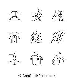fizyczny, kreska, komplet, terapia, ikony
