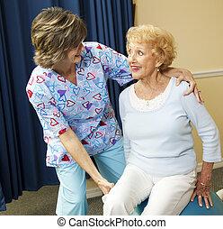 fizyczny therapist, dama, senior
