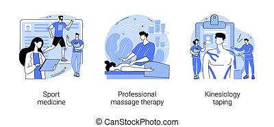 fizykoterapia, pojęcie, illustrations., wektor, abstrakcyjny