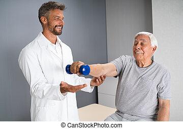 fizykoterapia, starszy, terapeuta