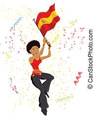flag., miłośnik, czarna dziewczyna, piłka nożna, hiszpania