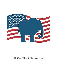 flag., słoń, partia, ameryka, na, republikanin, polityczny