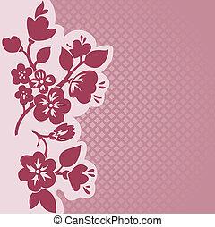 flowering, klatkowy, tło, gałąź