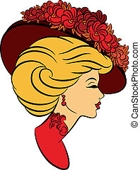 flowers., dziewczyna, kapelusz, fason