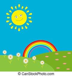 flowers., słońce, tęcza, krajobraz