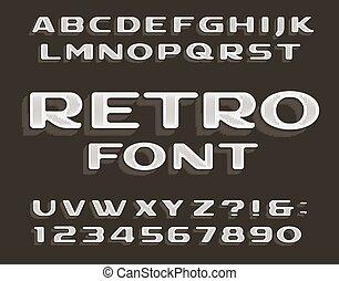 font., alfabet, retro, numbers., beletrystyka, rocznik wina