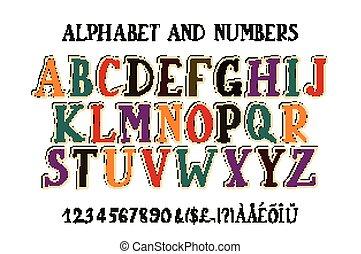 font., alfabet, retro
