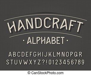 font., beletrystyka, alfabet, handcraft, retro, numbers.