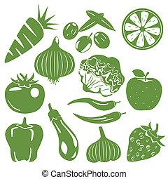 foodstuff, komplet, zielony, ikony