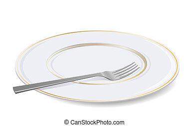 fork., biały, wektor, płyta