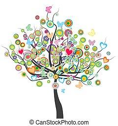 formułować, leaves.eps, motyle, kwiaty, koło, barwny, drzewo