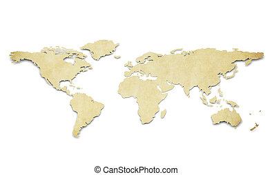 formułować, papier, świat, grunge., map.