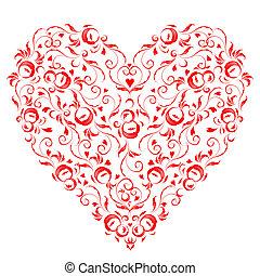 formułować, serce, twój, kwiatowy zamiar, ozdoba