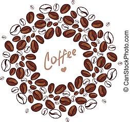 formułować, twój, restauracja, kropla, sklep, menu, przelotny, pattern., kawiarnia, miejsce, koło, beans., brązowy, kawa, text., tło, bar, coffee., dużo, wektor, fasola, tea-house.