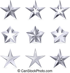 formuje, typy, różny, srebro, gwiazdy