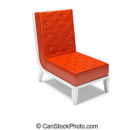 fotel, biały, nowoczesny, odizolowany, tło