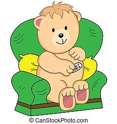 fotel, rysunek, niedźwiedź, siedział