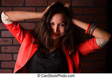 fotografia, kobieta, młody, pociągający