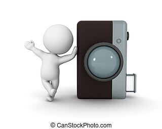 fotografia, litera, aparat fotograficzny, retro, nachylenie, 3d