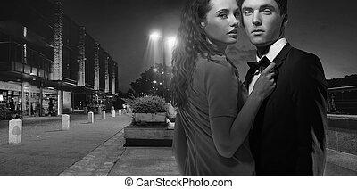 fotografia, para, black&white, młody, pociągający