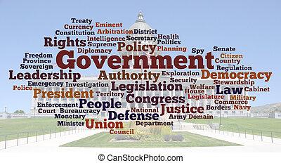 fotografia, słowo, chmura, rząd