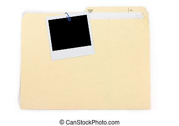 fotografia, skoroszyt, polaroid, rząd