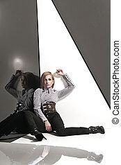 fotografia, styl, fason, dama, młody