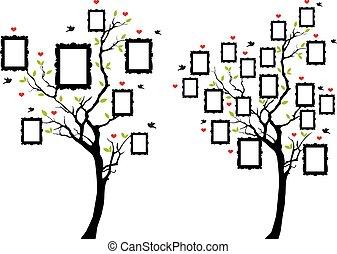 fotografia, wektor, drzewo, rodzina, układa