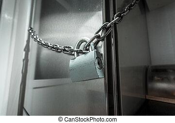 fotografia, zamknięty, chłodnia, łańcuch