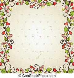 frame., illustration., wektor, kwiatowy