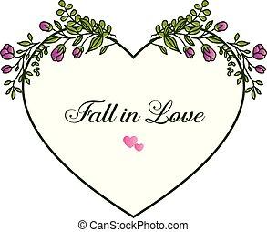 frame., purpurowy, miłość, upadek, wektor, tło, zaproszenie, kwiatowy wzór, karta