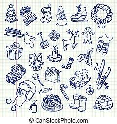 freehand, święto, rysunek, zima
