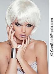 fringe., fason, girl., piękno, style., hair., close-up., moda, woman., odizolowany, portret, hairstyle., twarz, blond, szary, krótki, tło., biały