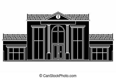 front, house., klasyk, czarnoskóry, napełniać