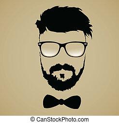 fryzura, broda mustache, okulary